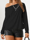 Solid Color Backless O-neck Long Sleeve Casual T-Shirt For Women - Black