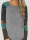Women Contrast Color Patchwork O-neck Long Sleeve Casual T-Shirt - Gray