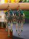 Vintage Bohemian Hollow Drop Flower Shape With Tassel Inlaid Rhinestones Alloy Earrings - Green