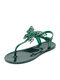 Summer Holiday Hasp Solid Jelly Shoes Butterfly Pattern Women's Thong Sandals - Green