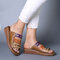 Large Size Women Comfy Retro Stitching Splicing Hollow Wedges Sandals - #01