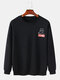 Mens Cotton Back Cartoon Animal Letter Print Casaul Crew Neck Sweatshirts - Black
