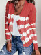 Vintage Printed Long Sleeve Casual Cardigan For Women - Red