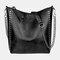 Ladies Textured Soft Leather Handbags Chain Shoulder Bag Rivet Tote Bag - #01