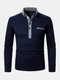 Mens Two Tone Lapel Casual Long Sleeve Golf Shirts With Pocket - Navy