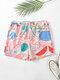Plus Size Women Face Line Print Elastic Waist Home Pajamas Shorts - Pink