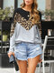 Casual Leopard Print Patchwork Contrast Color Long Sleeve O-neck T-Shirt - Gray