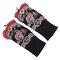 Women Vintage Ethnic Style Embroidery Flower Gloves Dance Warm Wrist Bracelet Accessories - Black