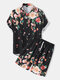 Mens Floral Print Shirt Holiday Two Pieces Outfits With Drawstring Shorts - Black