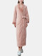 Women Flannel Lapel Thicken Warm Long Sleeve Belted Robes With Pockets - Pink