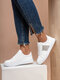 Women Casual Brief Rhinestone Design Lace-up Soft Comfy Sneakers - White