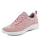 Large Size Women Breathable Air Mesh Lace Up Running Casual Shoes - Pink