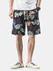 Mens Ethnic Style Floral Print Breathable Light Casual Drawstring Shorts - #02