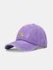 Unisex washed Made-old Cotton Solid Color Broken Hole Letter Embroidery Baseball Cap - Purple