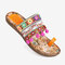 LOSTISY Folkways Embroidered Clip Toe Bohemian Flat Beach Sandals - Yellow