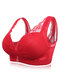 Deep Plunge Busty Lace Side Support Wireless Bras - Red