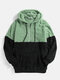 Mens Patchwork Half Zipper Fluffy Pouch Pocket Teddy Hoodie - Green