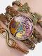 Vintage Tree Of Life Theme Pattern Butterfly Geometric Shape Hand-braided Glass PU Alloy Multi-layer Bracelet - #07