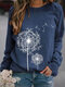 Women Printed Round Neck Long Sleeve Casual Loose Shirt Tops - Navy
