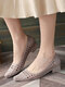 Women Casual Breathable Hollow Jelly Pointed Toe Block Heel Loafers - Apricot