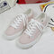 Women Student Breathable Canvas Non Slip Lace Up Casual White Flat Shoes - Pink