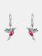 Alloy Cute Micro-set Bird-shape Earrings For Women - Red