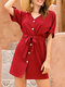 Short Sleeve Button V-neck Solid Color Drawstring Casual Dress - Wine Red