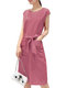 Cotton Linen Breathable Sleeveless Slim Tie Waist Solid Color Dress - Watermelon Red