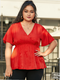 Solid Color V-neck Plus Size Casual Blouse for Women - Red