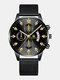 14 Colors  Alloy Mesh Band Men Business WatchDecorated Pointer Calendar Quartz Watch - Black Band Black Dial Gold Point