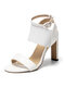 Large Size Lady Party Peep Toe Elastic Band Ankle Buckle Strap High Heel Sandals - White