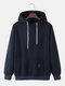 Mens Solid Color Plain Casual Drawstring Hoodies With Pouch Pocket - Navy