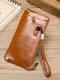 Men PU Leather Money Clips Card-slots Multifunction 6.5 Inch Phone Bag Wallet - Brown