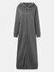 Повседневная длинная куртка с капюшоном и сплошными цветными карманами на молнии Платье - Серый