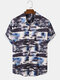 Mens Tie Dye Ink Plant Print Button Up Short Sleeve Shirts - White