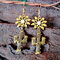 Vintage 925 Silver Plated Cactus Women Earrings Sun Flower Turquoise Earrings - Gold