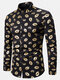 Mens Allover Lips Glitter Print Stand Collar Cotton Party Long Sleeve Shirts - Gold