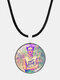 Cartoon Printed Men Women Necklace Adjustable Woman Wearing Flowers Glass Pendant Leather Necklace - #02