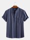 Mens Casual Slim Striped Short Sleeve Stand Collar Chest Pocket Shirt - Blue