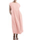 Solid Color Short Sleeve Plus Size Casual Dress - Pink