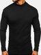 Mens Solid Color High Neck Plain Basics Long Sleeve T-Shirts - Black