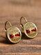 Vintage Glass Dangle Women Earrings Plant Flower Pattern Earrings Jewelry - #13