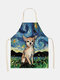 Cartoon Color Cat Pattern Cleaning Colorful Aprons Home Cooking Kitchen Apron Cook Wear Cotton Linen Adult Bibs - #03