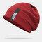 Cappello lavorato a maglia con doppio berretto in cotone solido casual da donna in cotone caldo all'aperto - Vino rosso