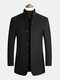 Mens Single-Breasted Woolen Thicken Warm Stand Collar Overcoats With Pockets - Black