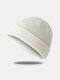 Bonnet unisexe en laine tricoté de couleur unie Casquettes de crâne Bonnets sans bord - blanc