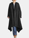 Solid Color Button Asymmetrical Hem Long Sleeve Casual Hooded Coat - Black