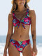 Women Floral Print Knotted Front Backless Wide Straps Bikinis Swimsuit - Red