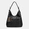 Women Laser Cut Bag Tassel Rivet Tote Bag - Black