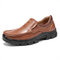 Menico Mens Slip On Business Casual Leather Shoes - Brown